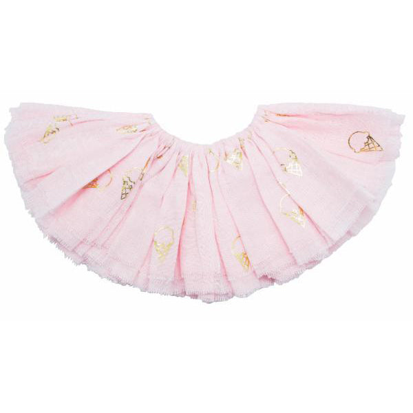 oh baby! Fairy Skirt - Printed All Over Ice Cream Cones Gold Foil - Pale Pink