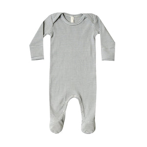 Quincy Mae - Organic Ribbed Jersey Footie - Eucalyptus Stripe