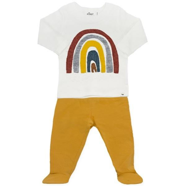 oh baby! Two Piece Jersey Footie Set - Rainbow - Mustard
