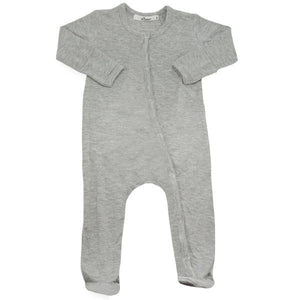 oh baby! Footie Onesie Bamboo - Heather Gray