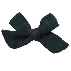oh baby! School Girl Bow Linen Clip Large - Forest Green