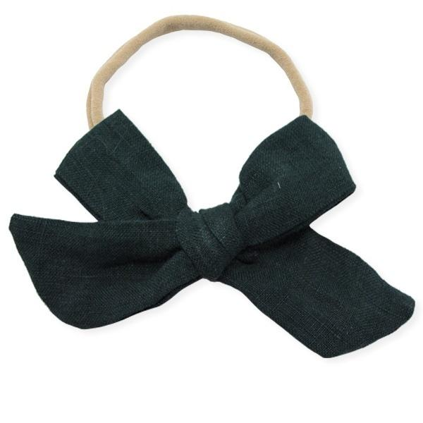 oh baby! School Girl Bow Linen Nylon Headband - Large Bow - Forest Green