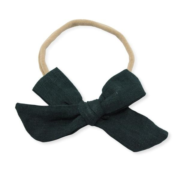 oh baby! School Girl Bow Linen Nylon Headband - Medium Bow - Forest