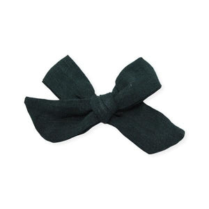 oh baby! School Girl Bow Linen Hair Clip Medium - Forest Green