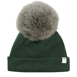 oh baby! Snap Fur Pom Hat Natural Gray - Forest