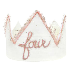 "oh baby! ""Four"" Birthday Crown with Blush/Gold Trim on Oyster Linen - oh baby!"