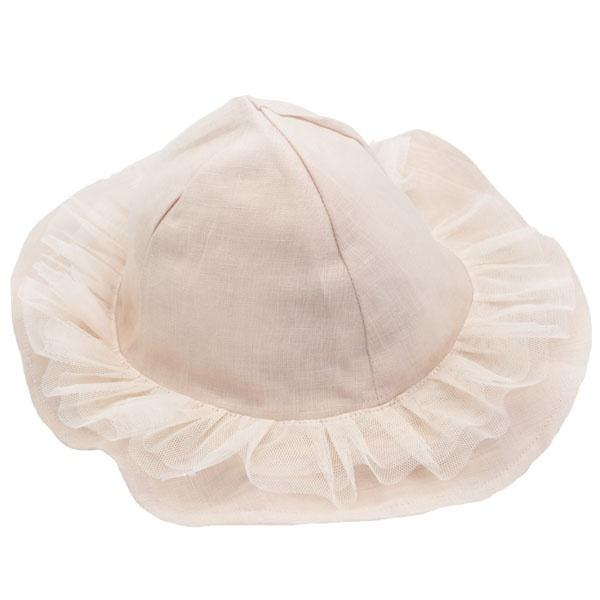 oh baby! Frill Sun Hat with Ivory Mesh Trim on Apricot - oh baby!