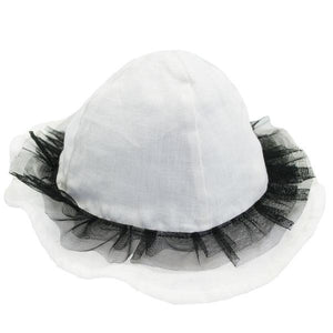 oh baby! Frill Sun Hat with Black Mesh Trim on Ivory - oh baby!