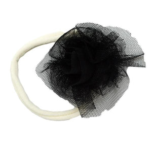 oh baby! Frill Flower Black Nylon Headband - Cream - oh baby!