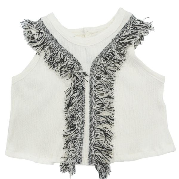 Summer Crop Cookie Fringe Pucker Knit Top- Natural