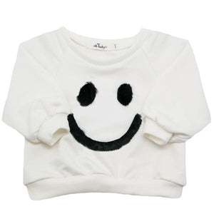 oh baby! Brooklyn Boxy Fur Smiley Sweatshirt - Cream - oh baby!