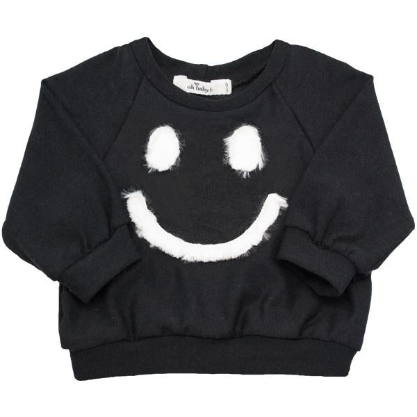 oh baby! Brooklyn Boxy Fur Smiley Sweatshirt - Black
