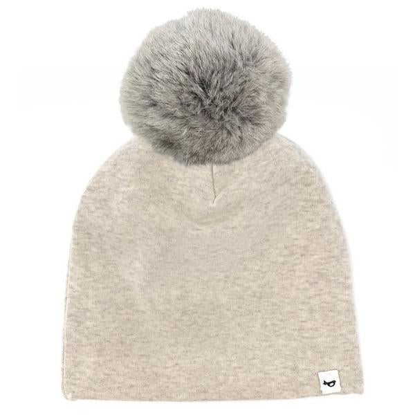 oh baby! Snap Fur Pom Hat Natural - Sand