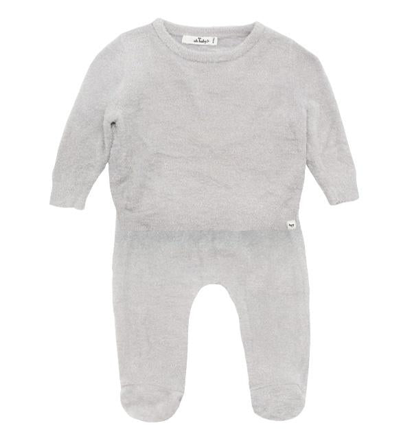 oh baby! Fuzzy Knit Two Piece Set - Cloudy - oh baby!
