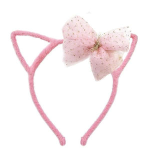 oh baby! Fuzzy Kitty Ear Headband with Pink Glinda Bow
