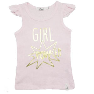"oh baby! Flutter Tank - ""Girl Power"" in Gold Foil - Pale Pink"