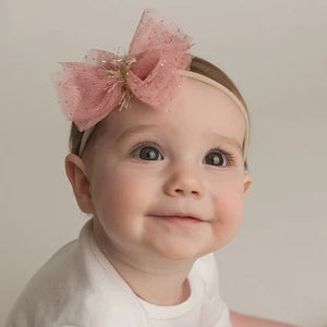 oh baby! Glinda Bow Nylon Headband - Blush