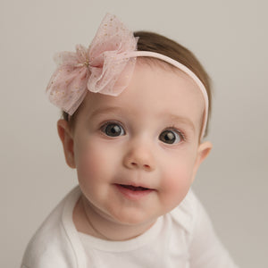 oh baby! Glinda Bow Nylon Headband - Light Pink - oh baby!