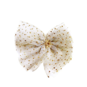 oh baby! Glinda Bow Pinch Clip - Ivory/Gold