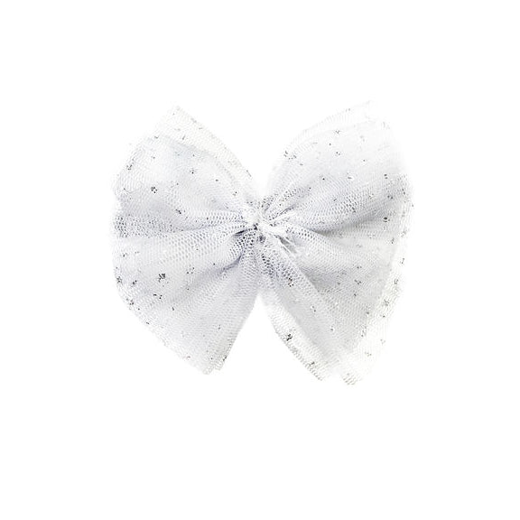 oh baby! Glinda Bow Pinch Clip - White/Silver