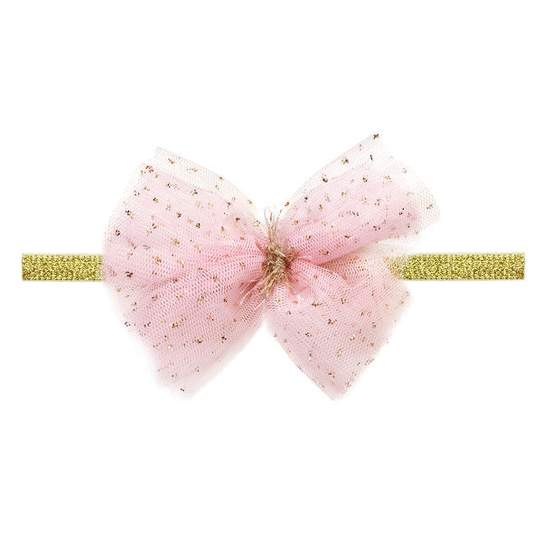 oh baby! Glinda Bow Elastic Gold Headband - Light Pink - oh baby!