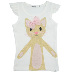 oh baby! Flutter Tank - Phoebe Gold Kitty - Cream - oh baby!