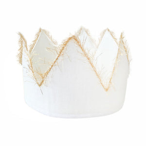 oh baby! Oyster Linen Crown with Gold Trim - Infant