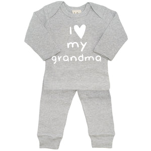 oh baby! Two Piece Set - I Love My Grandma - Heather Grey