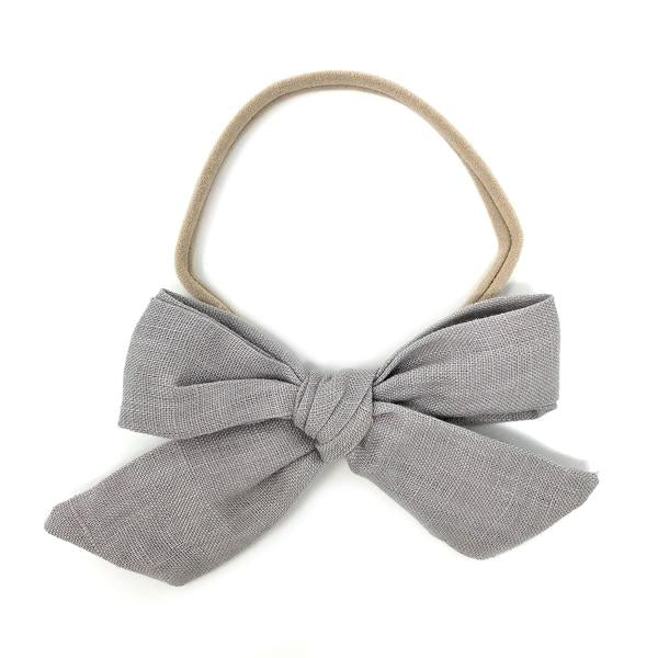 oh baby! School Girl Bow Linen Nylon Headband - Large Bow - Gray