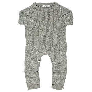 oh baby! Cable Knit Romper Onesie, Gray