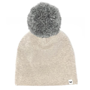 oh baby! Snap Yarn Pom Hat Grey - Sand