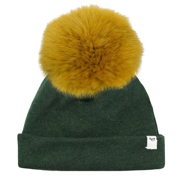 oh baby! Snap Fur Pom Hat Mustard - Forest