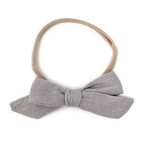 oh baby! School Girl Bow Linen Nylon Headband - Medium Bow - Gray