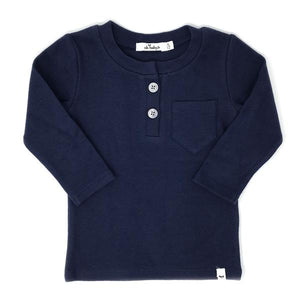 oh baby! Pocket Henley Long Sleeve Shirt - Navy