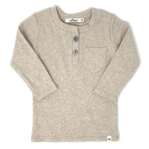 oh baby! Pocket Henley Long Sleeve Shirt - Sand