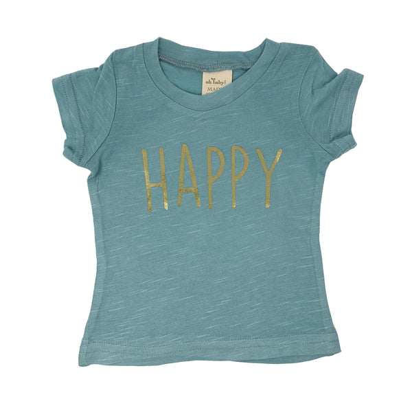 "oh baby! Short Sleeve Bamboo Slub Tee - ""Happy"" Gold Foil - Blue"