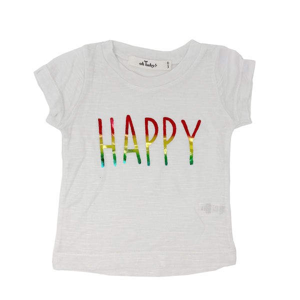 "oh baby! Short Sleeve Bamboo Slub Tee - ""Happy"" Rainbow - White"