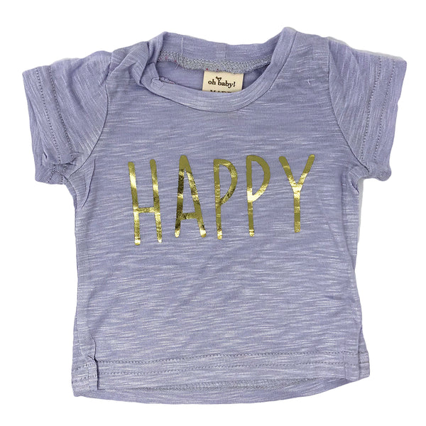 "oh baby! Short Sleeve Slub Tee - ""Happy"" Gold - Dusty Lavender"