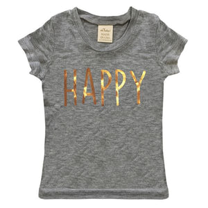 "oh baby! Short Sleeve Bamboo Slub Top - ""Happy"" in Rose Gold Foil - Heather Gray"