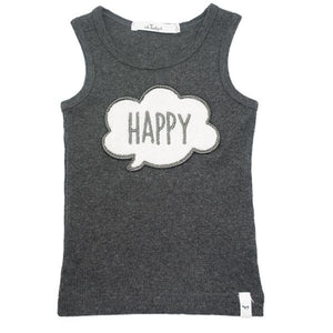 oh baby! Tank Top - Chenille Happy Patch - Charcoal