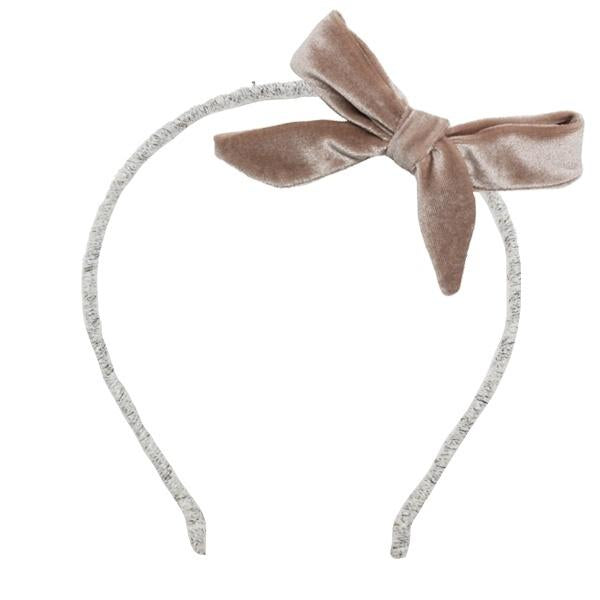 oh baby! Velvet Bow Wrapped Yarn Headband - Dusty Pink
