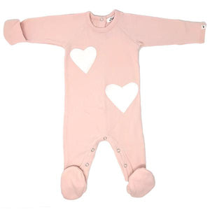 oh baby! Snapback Footie Baby Rib with Hearts - Pale Pink