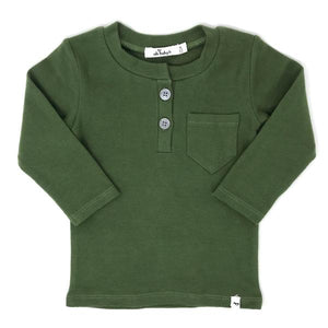 oh baby! Pocket Henley Long Sleeve Shirt - Moss