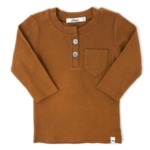 oh baby! Pocket Henley Long Sleeve Shirt - Rust