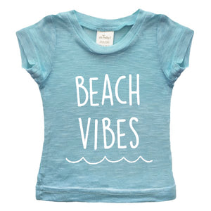 "oh baby! Short Sleeve Bamboo Slub Top - ""Beach Vibes"" - Blue"
