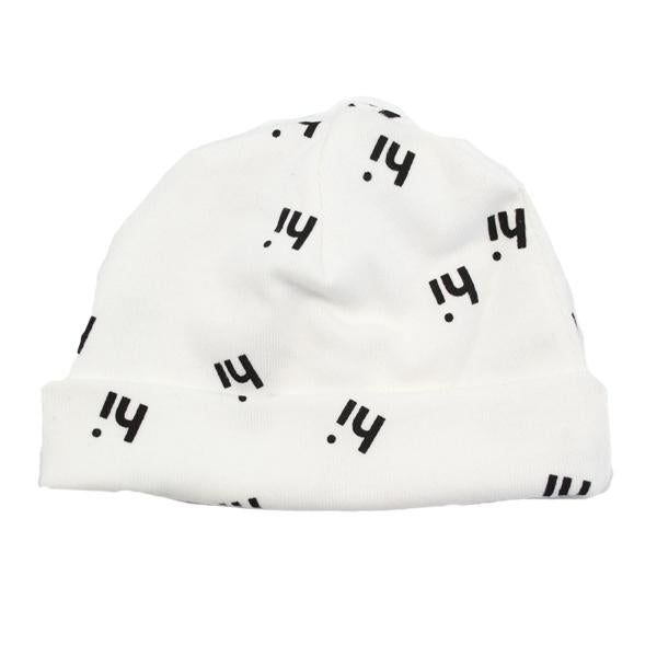 "oh baby! Hat - All Over ""hi"" Black Ink - Cream"