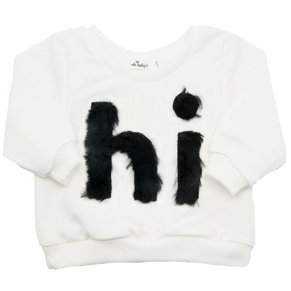 "oh baby! Brooklyn Boxy Fur ""Hi"" Sweatshirt - Cream - oh baby!"
