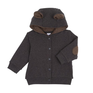 Petit Bateau Sweatshirt with Bear Ears Hood - Charcoal