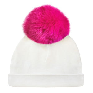 oh baby! Hat - Fur Pom - Cream/Hot Pink
