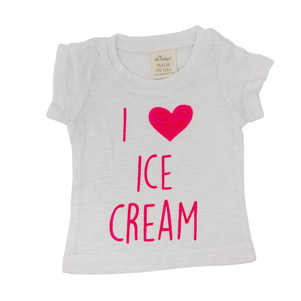 "oh baby! Short Sleeve Bamboo Slub Tee - ""I Love Ice Cream"" Neon Pink - White"